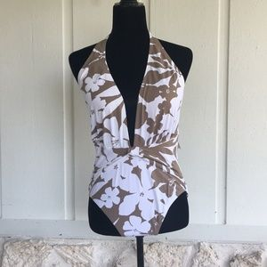 Tommy Bahama taupe & white halter swimsuit